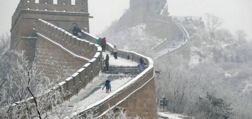 Великая китайская стена покрылась льдом